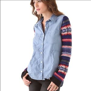New Free People Sweater Sleeve button down top